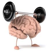 Ein kleines Comic-Gehirn stämmt ein Gewicht.