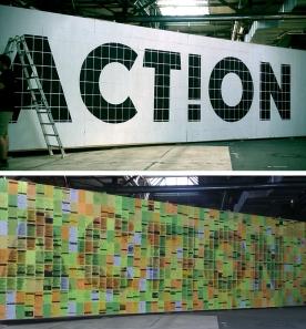 Verknüpfung von Online und Offline: die Holzwand wurde während der Kongresstage mit Tweets zum Hashtag #rp12 tapeziert. (Fotos: Kathrin Womser)