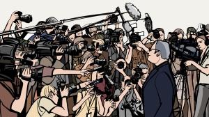 comic viele journalisten interviewen politiker