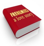 The title Frenemies A Love Story on a red 3d book cover illustrating a story between friends who have become enemies through deceit and betrayal